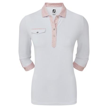 FootJoy 3/4 Sleeve Pique with Printed Trim dámské golfové tričko